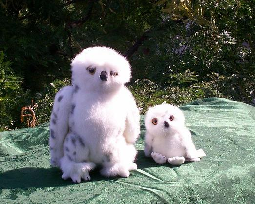 Snowy Owl Adult and Baby Set