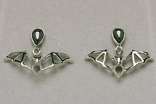 Hematite Cavern Bat Earrings