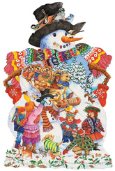 Snowy Friends Shaped Snowman Jigsaw Puzzle