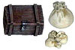 Assorted Sacks and Crude Wooden Chest