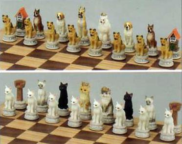 Dogs and Cats Chess Set