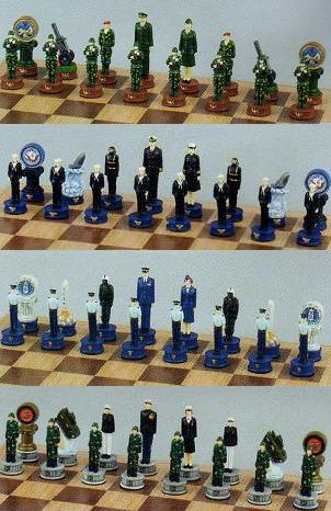 Army, Navy, Air Force and Marine Chess Set