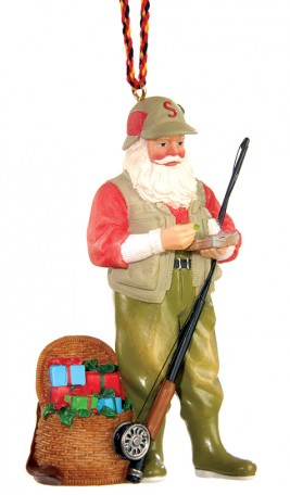 Fly Fishing Santa Ornament