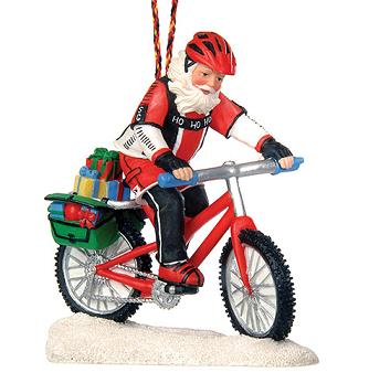 Biking Santa Ornament