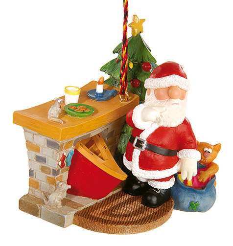Fireplace Canoe Santa Ornament