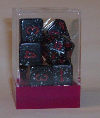 Ten Assorted Space Elemental Polyhedral Dice in a Box