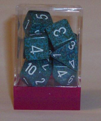 Ten Assorted Sea Elemental Polyhedral Dice in a Box