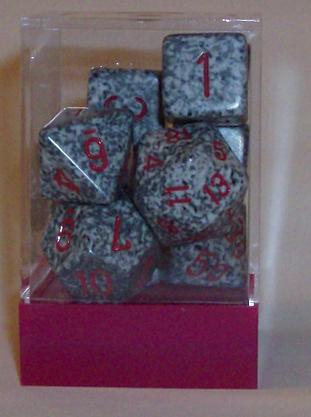 Ten Assorted Granite Elemental Polyhedral Dice in a Box