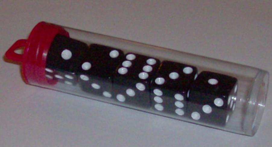 Tube Dice, black/white