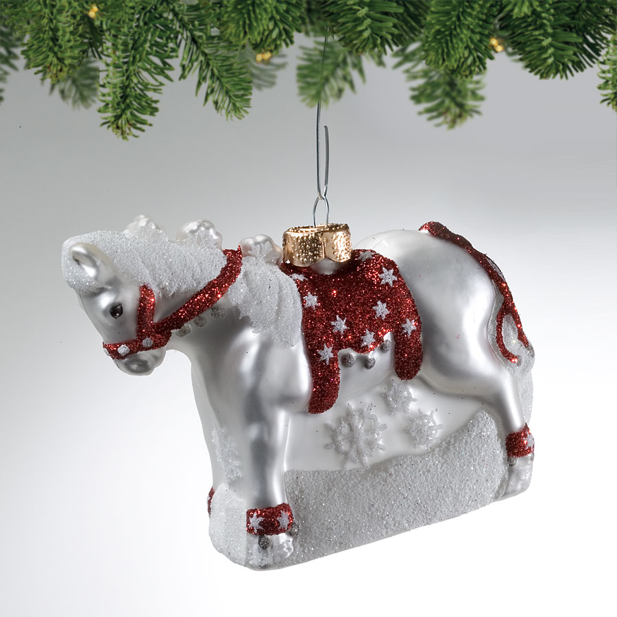 Dashing Through the Snow Blown Glass Ornament