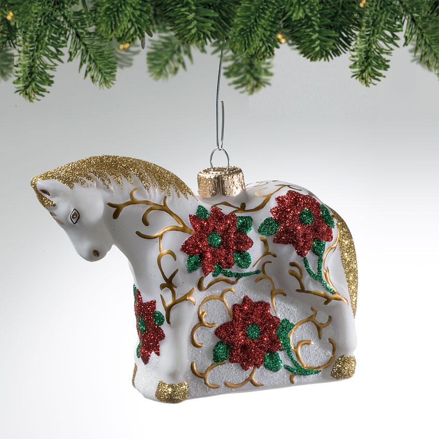 Poinsettia Pony Blown Glass Ornament