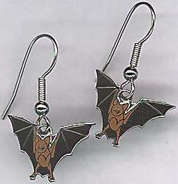 Enamel Brown Bat Earrings
