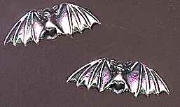 Bat Earrings, large sterling