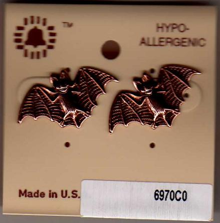 Nickel Bat Stud Earrings