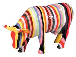 Striped Cow Figurine