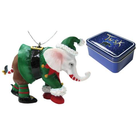 Elf Elephant Ornament in a Tin