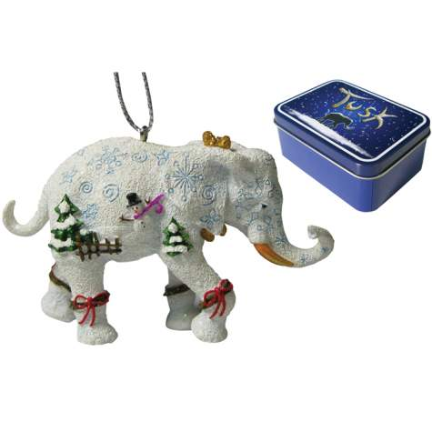 Snowman Elephant Ornament in a Tin