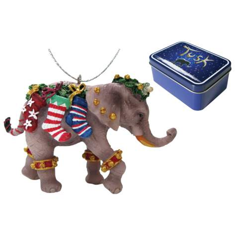 Stockings Elephant Ornament in a Tin