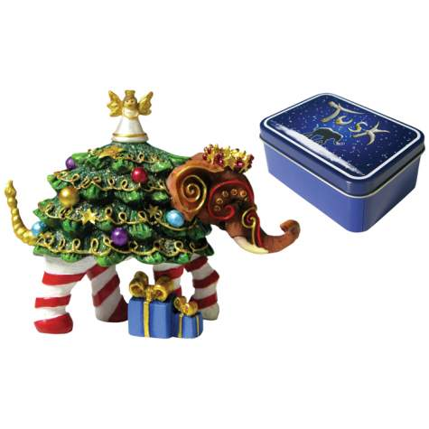 Christmas Tree Elephant Ornament in a Tin
