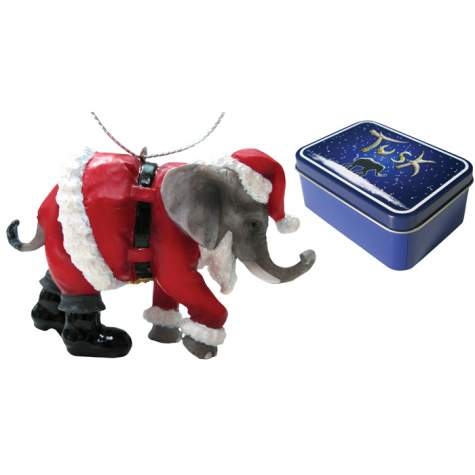 Santa Elephant Ornament in a Tin